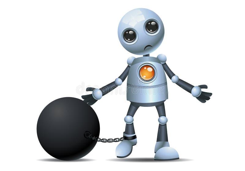 Wenig Roboter in der Kette als Gefangenen stock abbildung