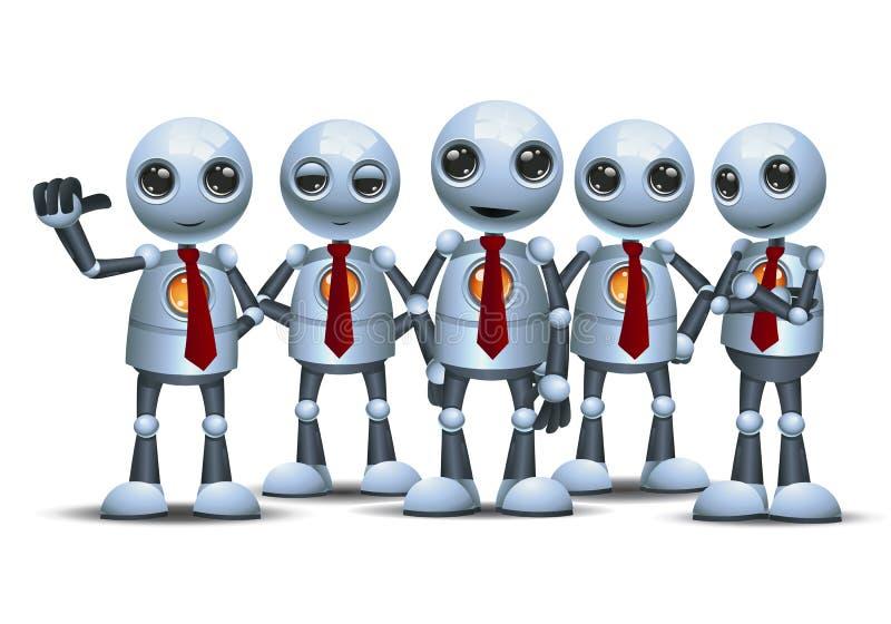 Wenig Roboter mit Team auf lokalisiertem weißem Hintergrund stock abbildung