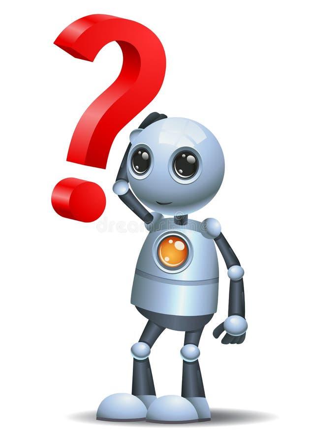 Wenig Roboter und ein Fragensymbol lizenzfreie abbildung