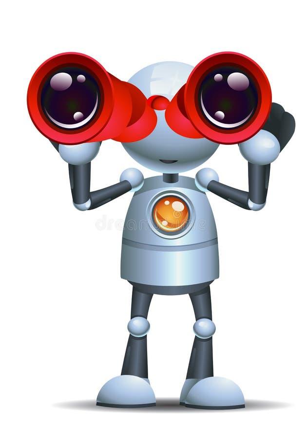 Wenig Robotergriff binokular auf lokalisiertem weißem Hintergrund lizenzfreie abbildung