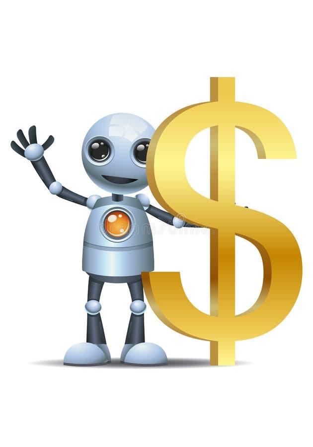 Wenig Robotergriff-Dollarsymbol lizenzfreie abbildung
