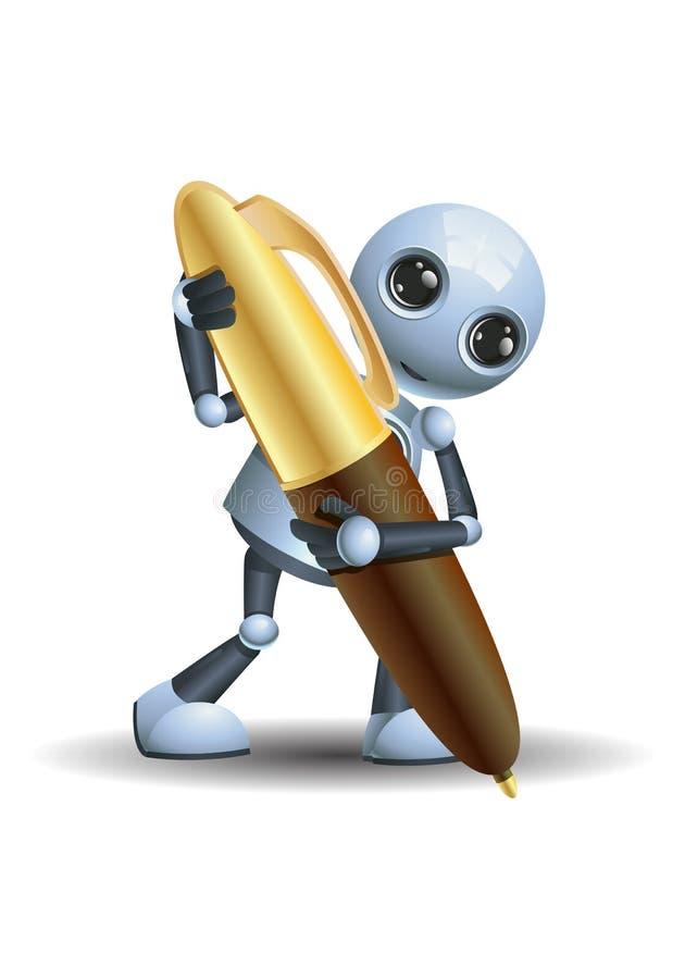 Wenig Roboterschreiben unter Verwendung des Stiftes lizenzfreie abbildung