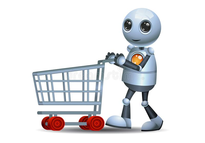 Wenig Roboterstoßwarenkorb stock abbildung