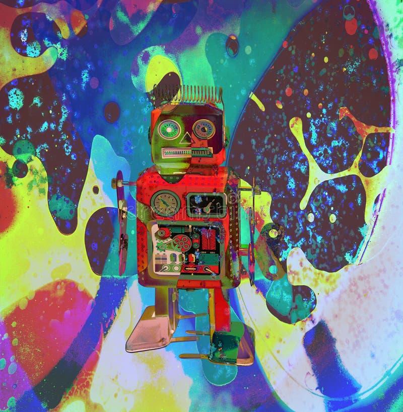 Wenig roter Roboter auf einer asid Reise vektor abbildung