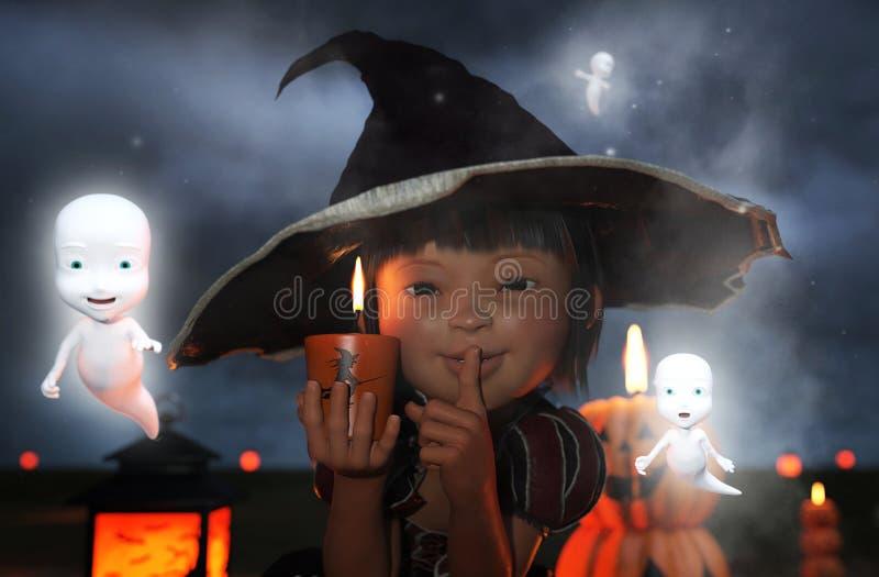Wenig ` s Hexe, kleines Mädchen in einem Hexenkostüm stock abbildung