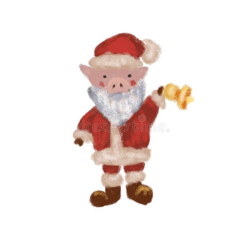 Wenig Santa Claus in einem Weihnachtskostüm mit einer Glocke Symbol des Jahres 2019 Neues Jahr Getrennt stock abbildung