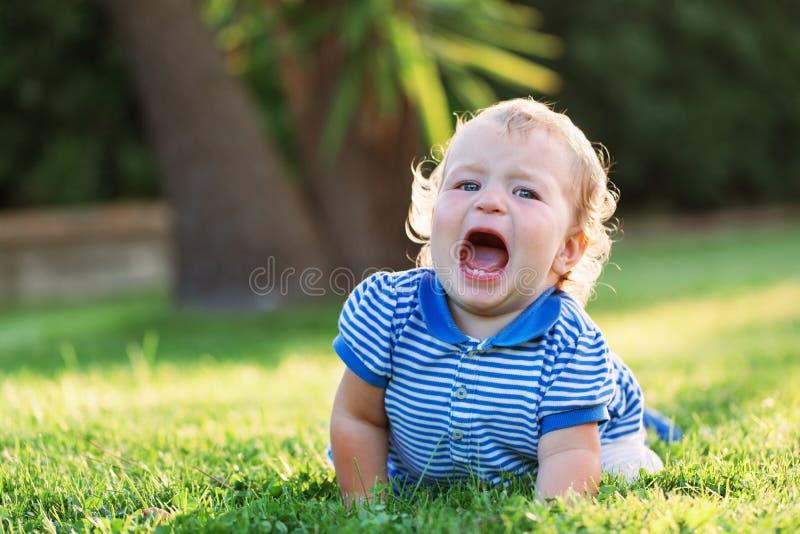 Wenig schönes recht glückliches Mädchen, das auf dem Gras und den Rufen liegt lizenzfreies stockbild