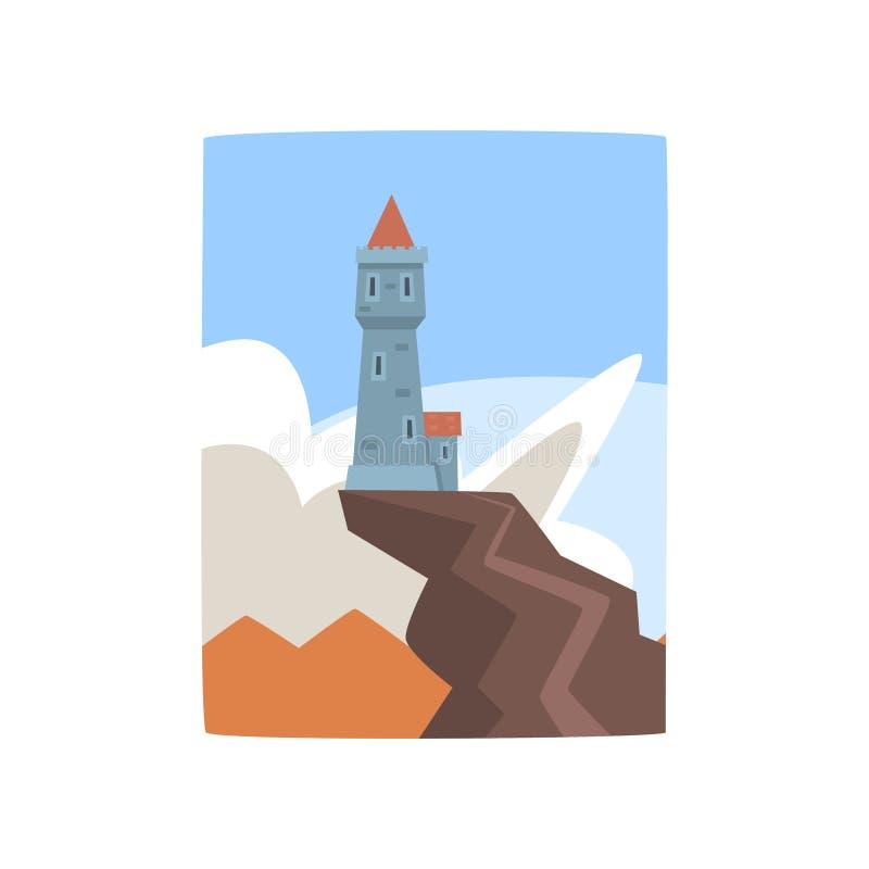 Wenig Schloss auf Klippe Fantasiefestung auf der Bergspitze umgeben durch blauen Himmel und weiße Wolken Flacher Vektor lizenzfreie abbildung