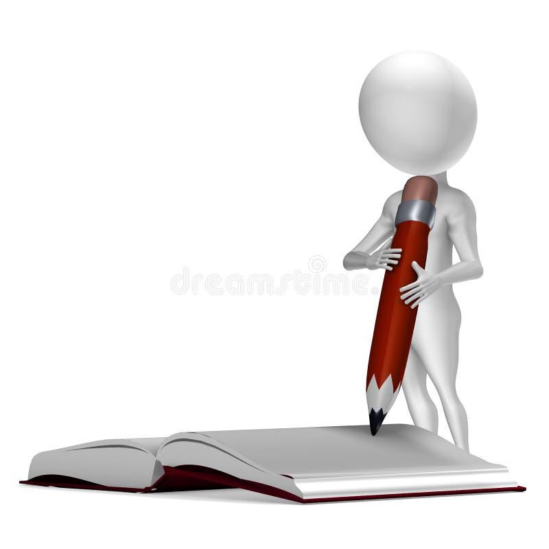 Wenig Schreiben des Kerls 3d in einem Notizbuch lizenzfreie abbildung