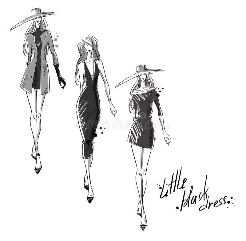 Wenig schwarzes Kleid Art und Weiseabbildung lizenzfreie abbildung