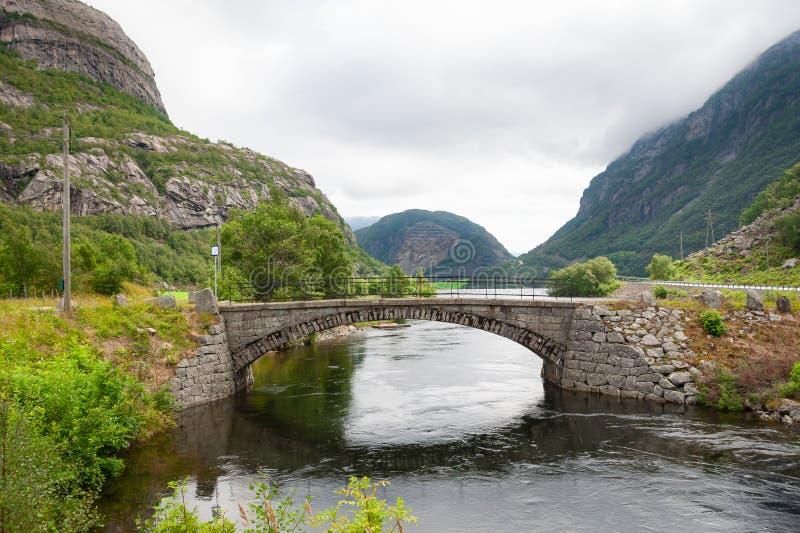 Wenig Steinbrücke über Fluss Öffnen Sie Straße Leere Straße ohne Verkehr in der Landschaft Landwirtschaftliche Landschaft stockfoto