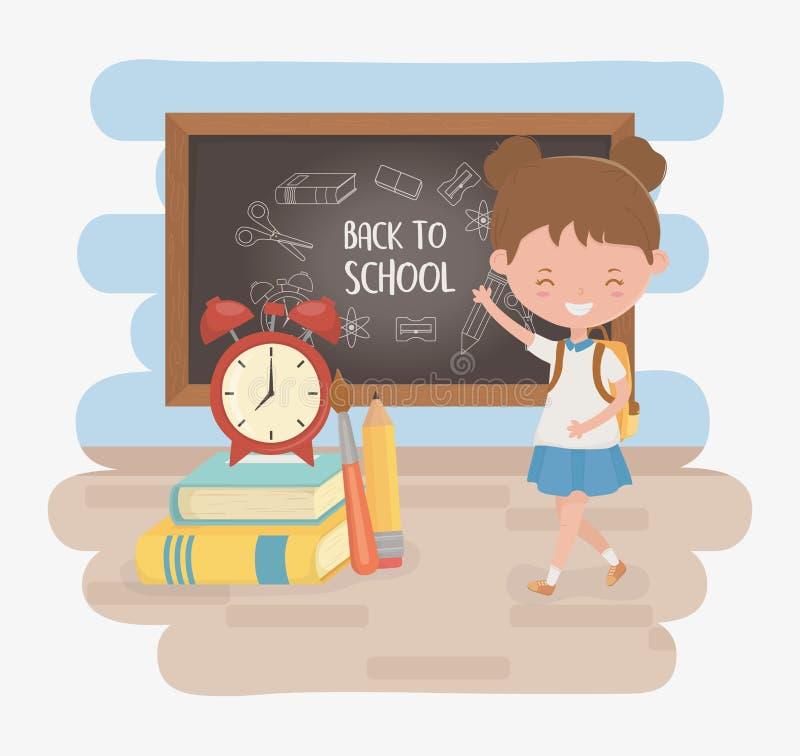 Wenig Studentenmädchen mit Tafel und Schulbedarf vektor abbildung