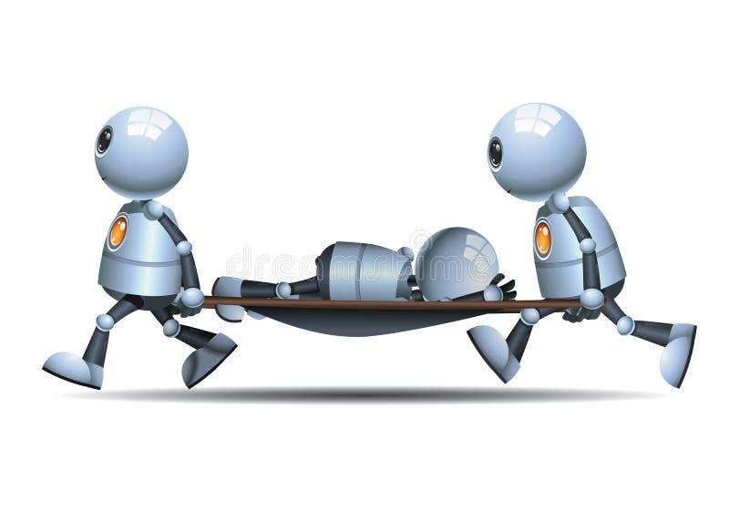 Wenig tragender Patient des Robotermediziners stock abbildung