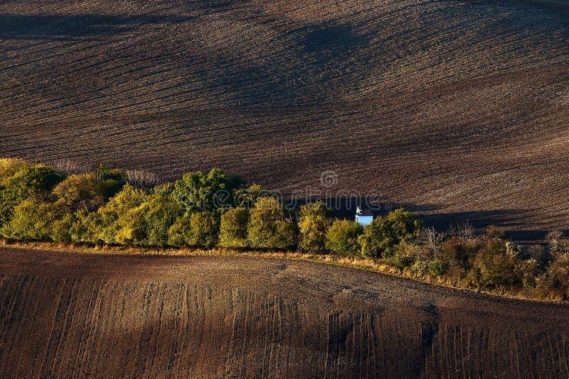 Wenig weiße Hochzeitskapelle versteckt hinter den Bäumen im Herbst, unter den gepflogenen Feldern Kyjov Süd-Moray Tschechische Re lizenzfreies stockbild