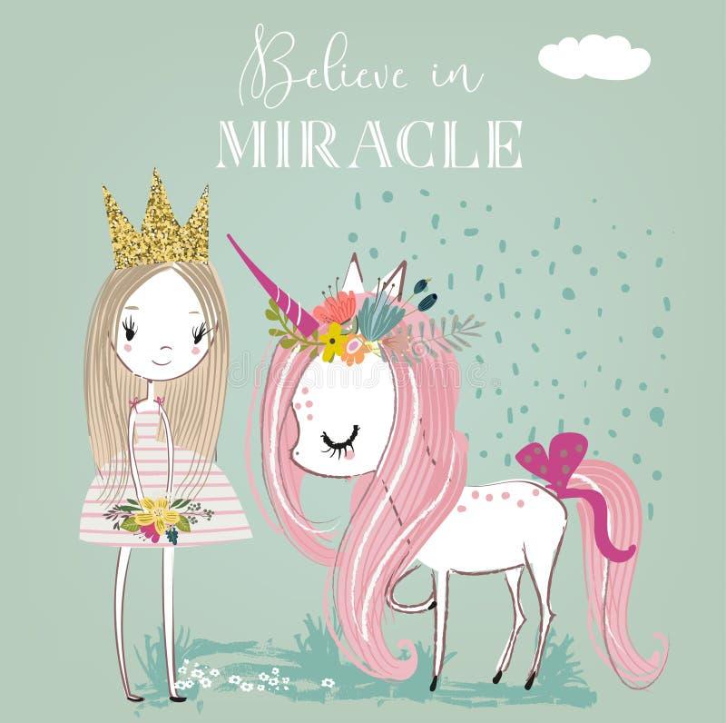Wenig weißes Märcheneinhorn der Karikatur mit Prinzessin lizenzfreie abbildung