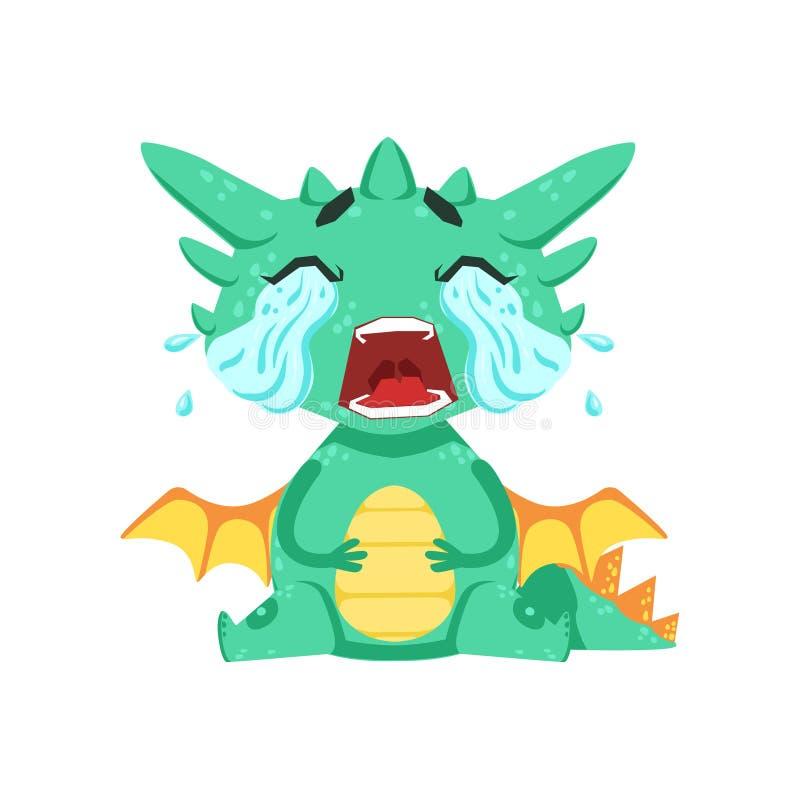 Wenige Anime-Art-Baby-Dragon Crying Out Loud With-Ströme von Riss-Zeichentrickfilm-Figur Emoji-Illustration stock abbildung