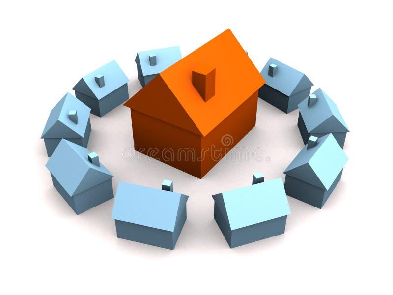 Wenige Häuser 3d vektor abbildung