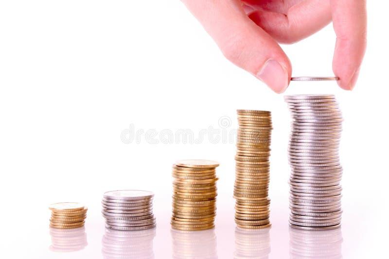 Wenige Münzenspalten lizenzfreies stockbild
