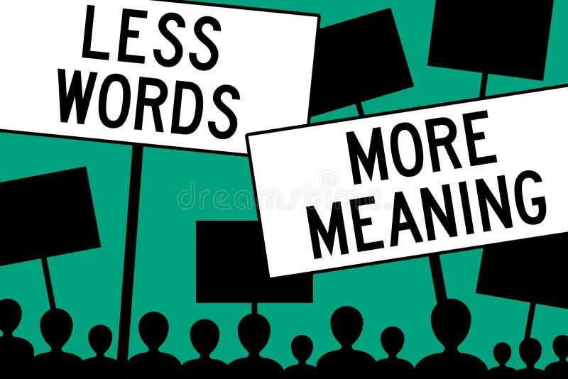 Weniger Wörter mehr Bedeutung stock abbildung