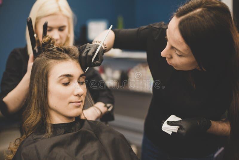 Wenkbrauw het verven De meester schildert wenkbrauwen met henna aan een mooi meisje, schildert met een borstel in de salon van ee stock afbeeldingen
