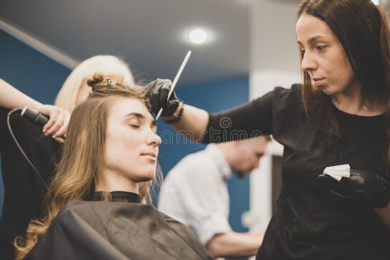Wenkbrauw het verven De meester schildert wenkbrauwen met henna aan een mooi meisje, schildert met een borstel in de salon van ee stock foto