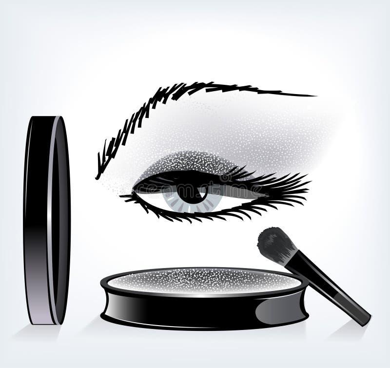 Wenkbrauwen en ogen met make-up. stock illustratie