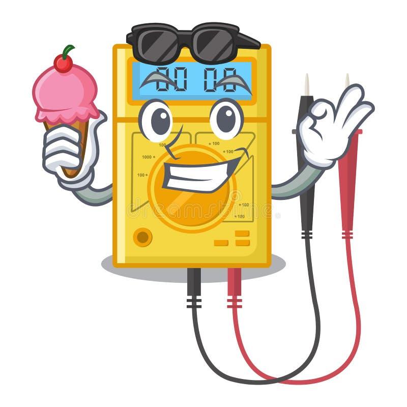Wenn das Digitalmessinstrument der Eiscreme mit dem Charakter lokalisiert ist stock abbildung