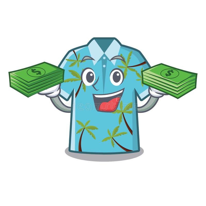 Wenn die Geldtaschenhawaiihemden im Karikaturwandschrank gefaltet sind lizenzfreie abbildung