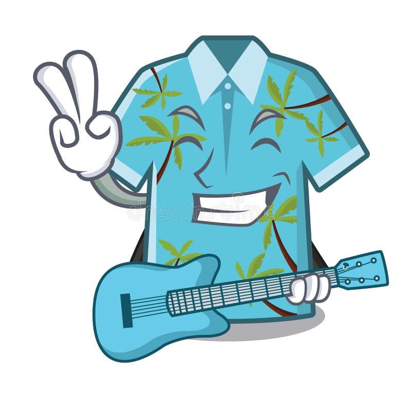 Wenn die Gitarrenhawaiihemden im Karikaturwandschrank gefaltet sind stock abbildung