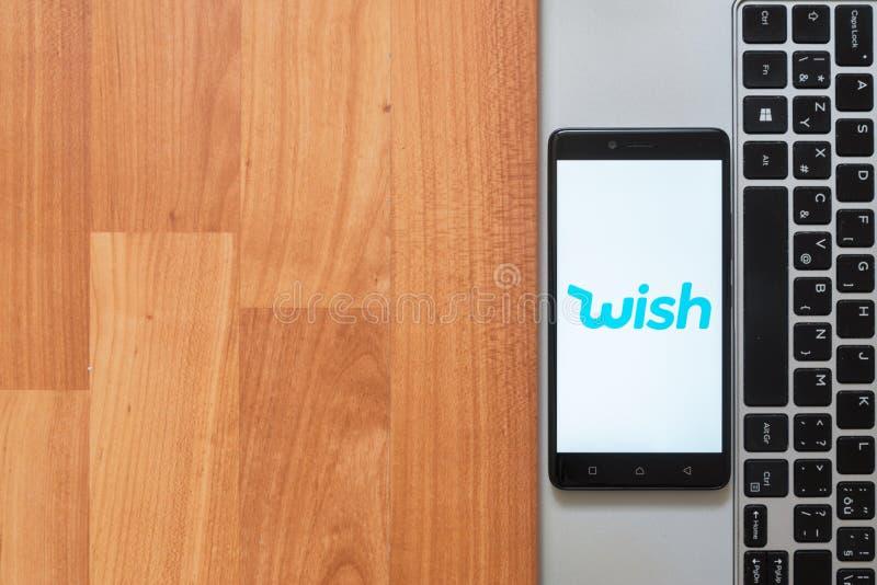 Wens op het smartphonescherm royalty-vrije stock foto