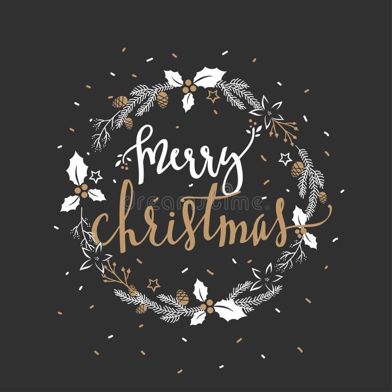 Wens van vrolijke Kerstmis in de kroon van cirkelkerstmis over zwarte achtergrond royalty-vrije illustratie
