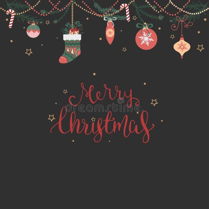 Wens van vrolijke Kerstmis onder nieuwe jaarslinger royalty-vrije illustratie
