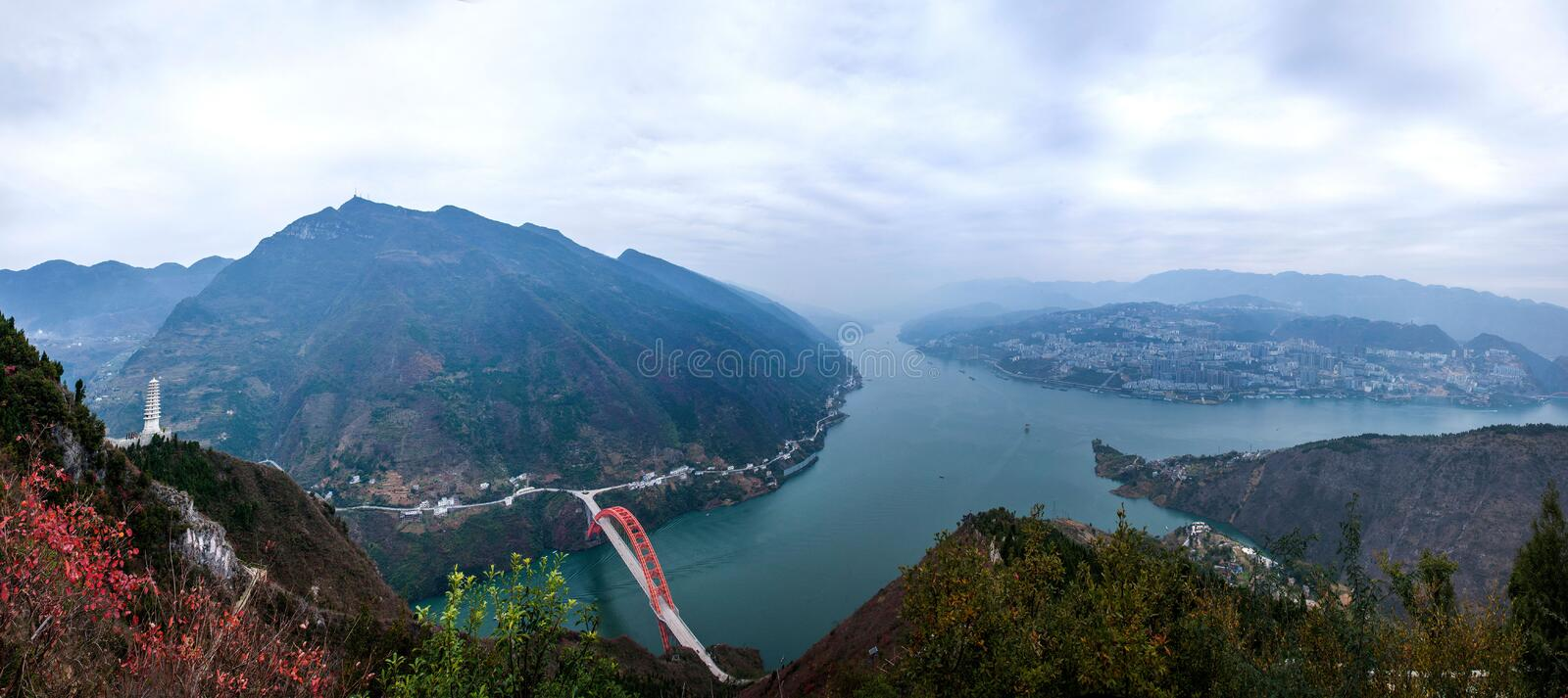Wenshan County, Chongqing Wenfeng Forest Park overlooking the Wushan Yangtze River Bridge and Wushan County. Wenfeng Forest Park, located in the north shore of royalty free stock images