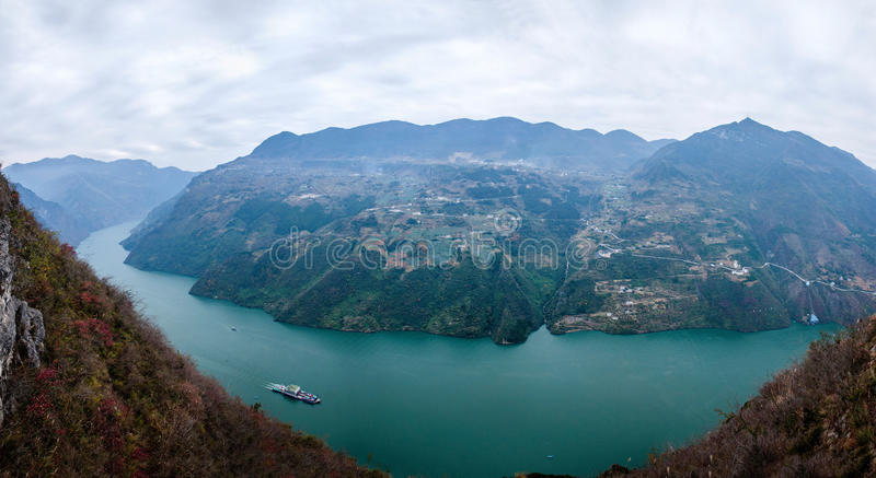 Wenshan County, Chongqing Wenfeng Forest Park overlooking the Yangtze River Three Gorges Wu Gorge. Wu Gorge from Wushan County, east Daning River, to Badong royalty free stock images