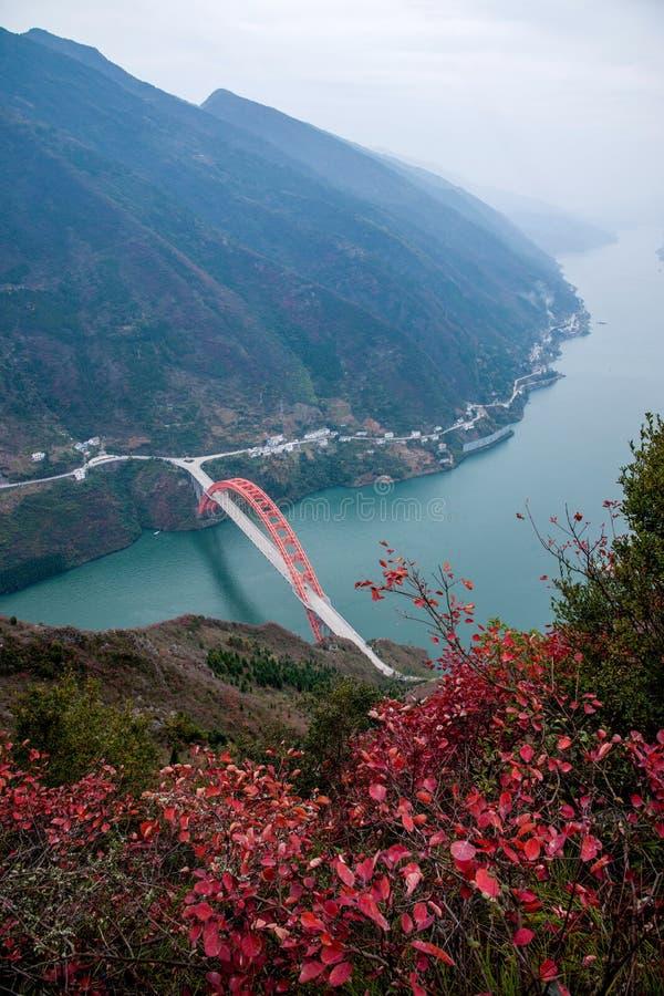 Wenshan-Grafschaft, Chongqing Wenfeng Forest Park, der die Wushan der Jangtse Brücke und das Wushan County übersieht lizenzfreies stockfoto