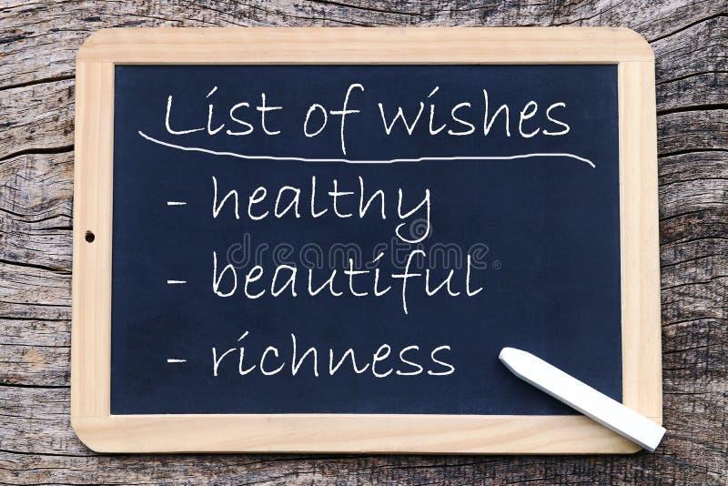 Wenslijst - gezondheid, schoonheid, rijkdom stock afbeelding
