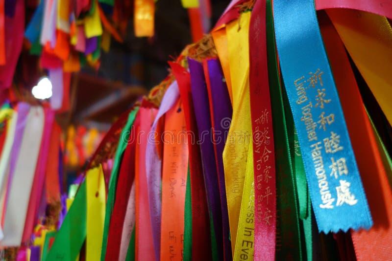 Wenslinten in de Chinese boeddhistische tempel van Si van Kek lok, Maleisië stock foto