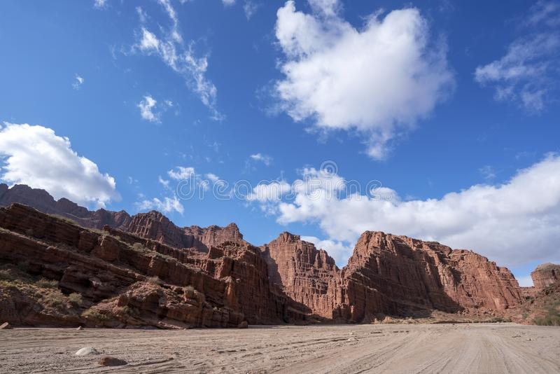 Blue sky white clouds and colorful Wensu Grand Canyon in Autumn stock photography
