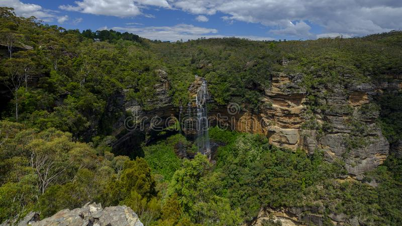 Wentworth Falls in den blauen Bergen, NSW, Australien stockfotos