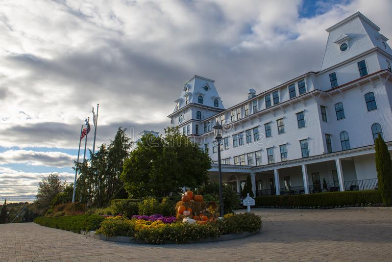 Wentworth by the Sea Hotel in New Castle in NH, USA. Wentworth by the Sea is a historic grand hotel dates back to Gilded Age in New Castle, New Hampshire, USA stock photo