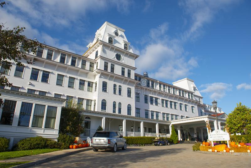 Wentworth by the Sea Hotel in New Castle in NH, USA. Wentworth by the Sea is a historic grand hotel dates back to Gilded Age in New Castle, New Hampshire, USA royalty free stock photography