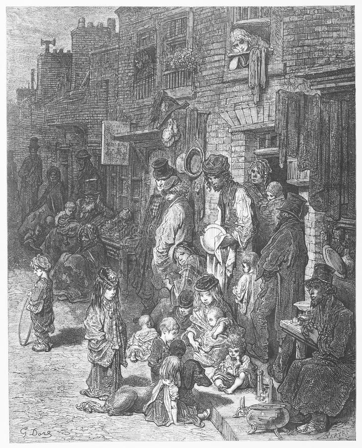Wentworth Street. Picture from Gustave Dore's London: a Pilgrimage illustrated book published in 1873, London - UK