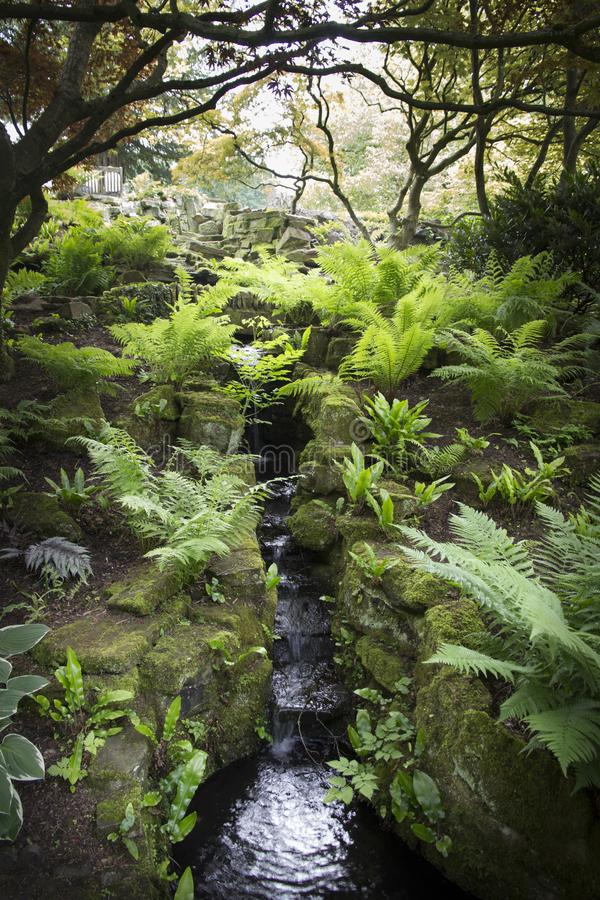 WENTWORTH, UK - June 1, 2018. Gardens with waterfall set within the grounds of Wentworth Woodhouse. Rotherham, South Yorkshire, UK stock photos