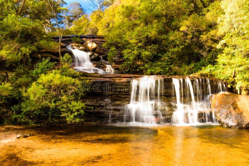 Wentworth Walls Waterfall blåa berg, Australien arkivbilder