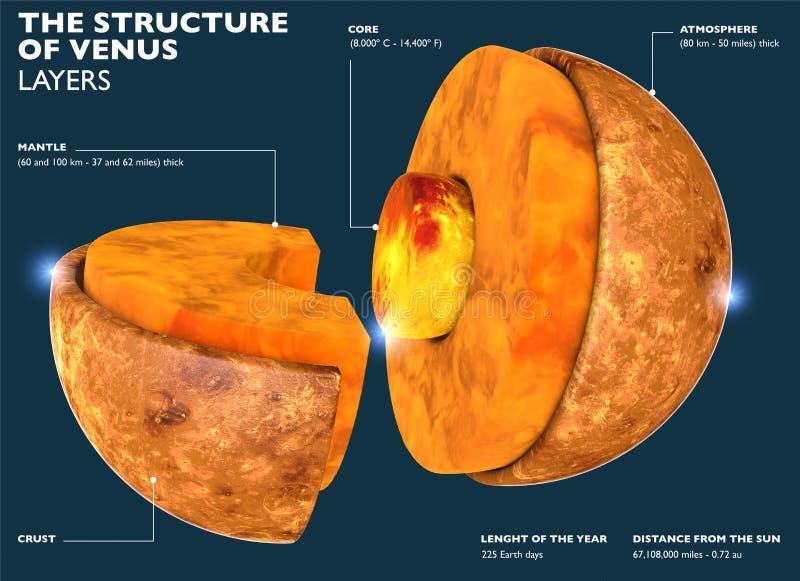 Wenus struktura, sekcja planeta w 3d Podzia? planeta w cz??ci od sedna Wenus skorupa ilustracja wektor