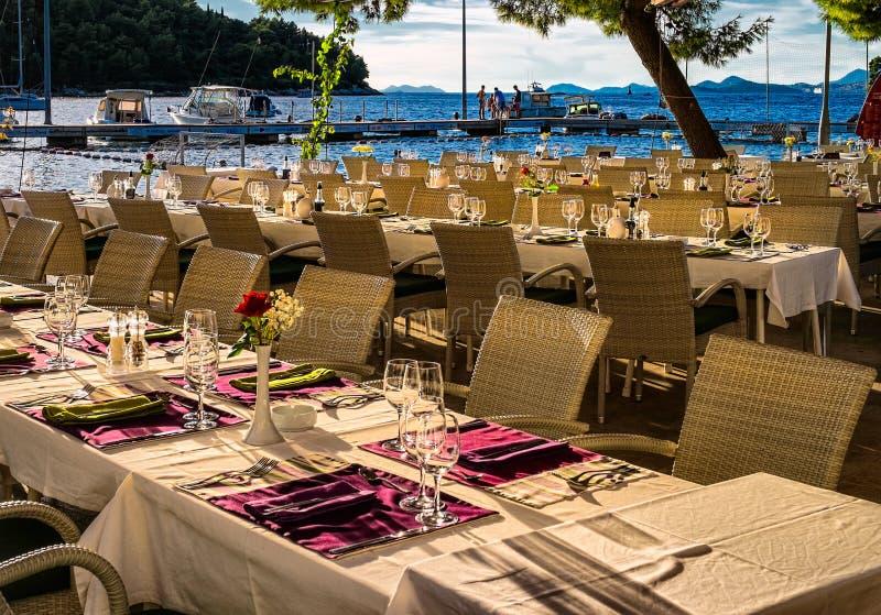 Weranda restauracja Cavtat dubrovnik Chorwacja obraz stock