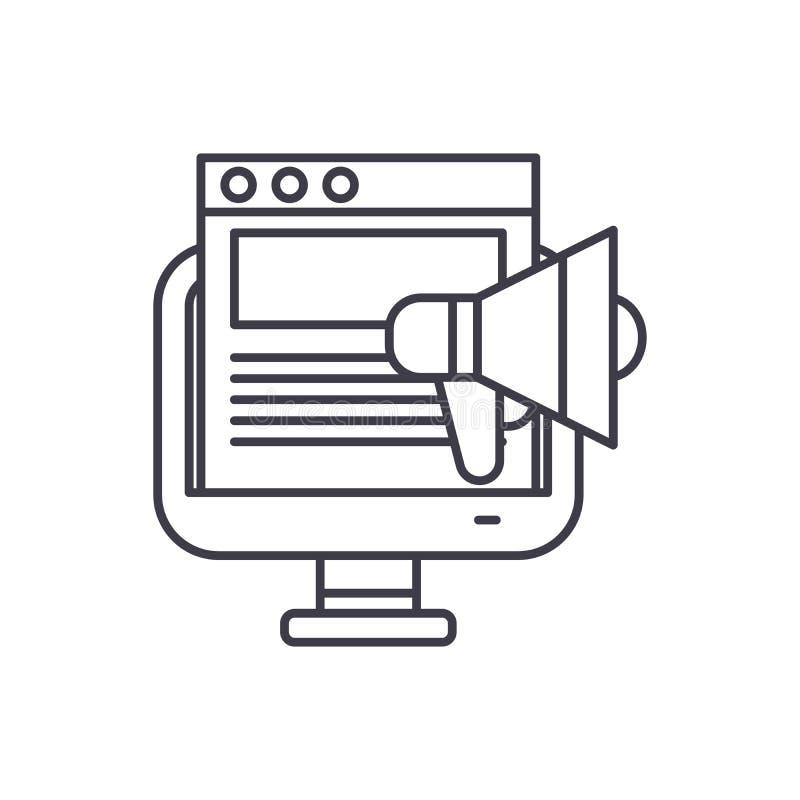 Werbekampagnelinie Ikonenkonzept Lineare Illustration des Werbekampagnevektors, Symbol, Zeichen stock abbildung