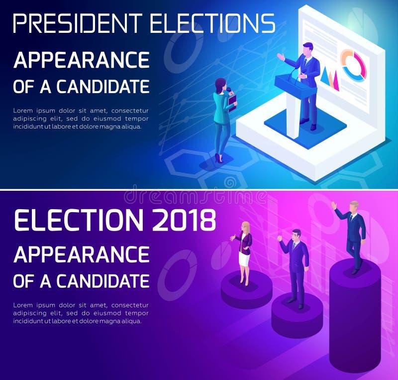 Werbekonzeption Isometrics, Wahlen von 2018, Präsidentschaftsanwärter, wählend, Debatten, Vorwahlrennen vektor abbildung