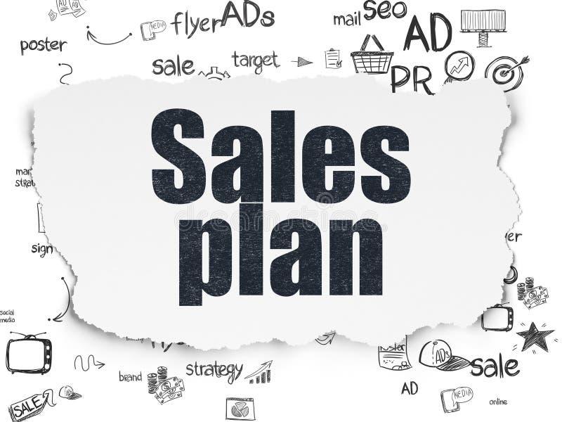 Werbekonzeption: Verkaufs-Plan Auf Heftigem Papier Stock Abbildung ...