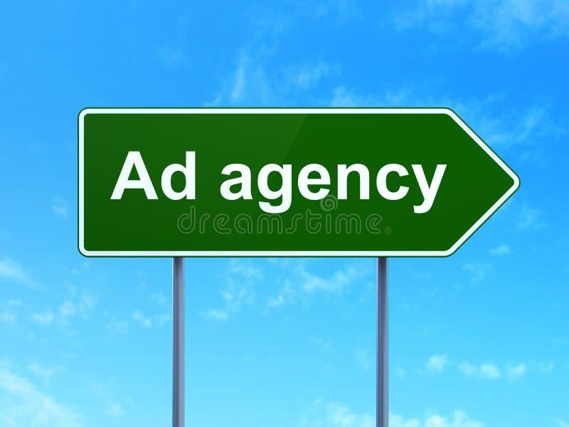 Werbekonzeption: Werbeagentur auf Verkehrsschild stock abbildung